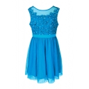 Stylish Beaded Lace Insert Round Neck Plain Tank Dress