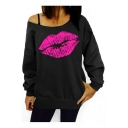 Fashionable Lip Print Long Sleeve One Shoulder Pullover Sweatshirt