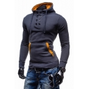 Sportive Button Front Long Sleeves Pullover Drawstring Men's Hoodie with Pocket