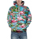Chic 3D Flamingo Lotus Print Pocket Long Sleeve Hoodie for Couple