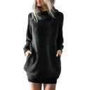 Stylish Plain Turtleneck Long Sleeve Dress with Pocket