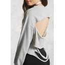 Cool Cutout Hollow Back Ripped Detail Round Neck Long Sleeves Cropped Sweatshirt