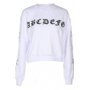 Trendy Letter Pattern Round Neck Long Sleeves Pullover Cropped Sweatshirt