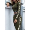 Stylish Letter Side Pattern Slim-Fit Cropped Tee with Elastic Waist Workout Pants
