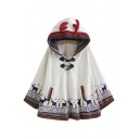 New Fashion Deer Pattern Double Button Pockets Hooded Cape with Horns