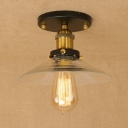 Industrial Vintage 8.5''W Flush Mount Ceiling Fixture with Cone Glass Shade