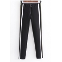 Stylish Striped Side Zipper Fly Elastic Waist Skinny Pants