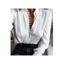 Stylish Plain Point Collar Long Sleeves Button Down Shirt
