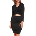Hot Fashion Simple Plain Long Sleeve V-Neck Hollow Out Front Dress