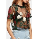 Trendy Floral Embroidery Round Neck Mesh Patched Short Sleeves Cropped Tee