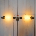Industrial Simple 2 Light Multi Light Wall Sconce with Red Valve, 2 Light