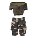 Sexy Off The Shoulder Wrap Front Short Sleeve Cropped Tops Camouflage Co-ords