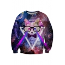Fabulous Cat Galaxy Geometric Laser Pattern Round Neck Long Sleeves Pullover Sweatshirt