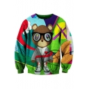 Cute Bear Pattern Color Block Round Neck Long Sleeves Pullover Sweatshirt