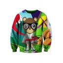Cute Bear Pattern Color Block Round Neck Long Sleeves Pullover Sweatshirt