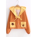 Color Block Cartoon Bear Hamburger Pattern Double Button Hooded Coat