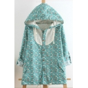 Peasant Style Floral Pattern Lace Panel Hooded Button Down Turn-up Sleeves Coat with Flap Pockets