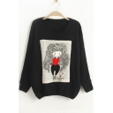 Leisure Cartoon Girl Printed Round Neck Batwing Sleeves Pullover Loose Sweater