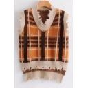 New Stylish Plaid Print V-Neck High Low Hem Pullover Vest Sweater