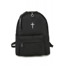 Simple Cross Embroidered Zippered Backpack School Bag