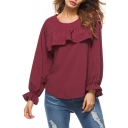 Leisure Ruffle Trimmed Round Neck Long Sleeves Loose Plain Pullover Blouse