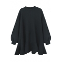 Chic Round Neck Blouson Sleeves Draped Ruffle High Low Hem Plain Sweatshirt Swing Mini Dress