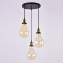 Industrial Multi Light Pendant with Teardrop Glass Shade, 3 Light