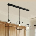 Industrial 3 Light Multi Light Pendant with Metal Cage Frame in Black Finish