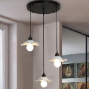 Industrial Vintage 3 Light Multi Light Pendant with White Metal Shade