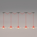 Industrial 5 Light Multi Light Pendant with Saucer Metal Shade in Red Finish