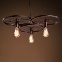 Industrial 22''W Multi Light Pendant with 3 Light and Wheel in Rust Finish
