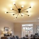 Industrial Edison Bulb 10 Light Semi-Flush Ceiling Light in Open Bulb Style, 48''W, Black/White