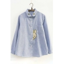 Cute Rabbit Embroidered Striped Pattern Long Sleeve Peter Pan Collar Shirt