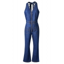 Fancy Halter Neck Bow Open Back Zippered Wide Leg Denim Jumpsuit