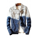 Color Block Letter Print Lapel Single Breasted Long Sleeve Denim Jacket
