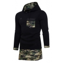 Stylish Camouflaged Color Block Layered Chest Pocket Pullover Tunic Hoodie
