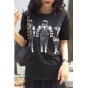 Fashionable Astronaut Printed Round Neck Short Sleeve Loose Summer Tee