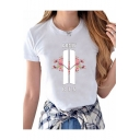 Trendy Letter Floral Pattern Round Neck Short Sleeves Slim-Fit Tee