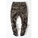 Trendy Camouflaged Pattern Elastic Drawstring Waist Zipper Ankle Joggers