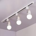 Industrial 3 Light Semi-Flush Ceiling Light in Open Bulb Style, Black/White