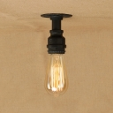 Industrial Simple Flushmount Ceiling Light in Open Bulb Style in Black
