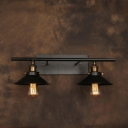 Industrial 23.6''W Multi Light Wall Sconce with 2 Light and Cone Metal Shade in Black Finish