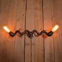 Industrial Vintage 2 Light Multi Light Wall Sconce in Pipe Style, 23.5''W