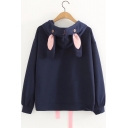 Cute Embroidered Detail Long Sleeve Rabbit Ears Embellished Hoodie