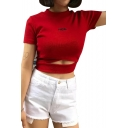 Fashionable Letter Print Hollow Out Front Short Sleeve Cropped Tee