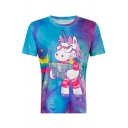 Funny Cartoon Unicorn Tie-Dye Print Round Neck Short Sleeve Tee
