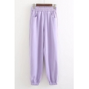 New Trendy Plain Elastic Waist Leisure Pants with Pocket