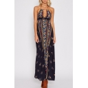 Ethnic Floral Pattern Halter Neck Cutout Hollow Front Open Back Maxi Beach Dress