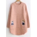 Cute Cat Embroidered Long Sleeve Round Neck Tunic Pullover Sweater