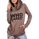 Trendy Letter Pattern Long Sleeves Pullover Slim-Fit Hoodie with Pockets